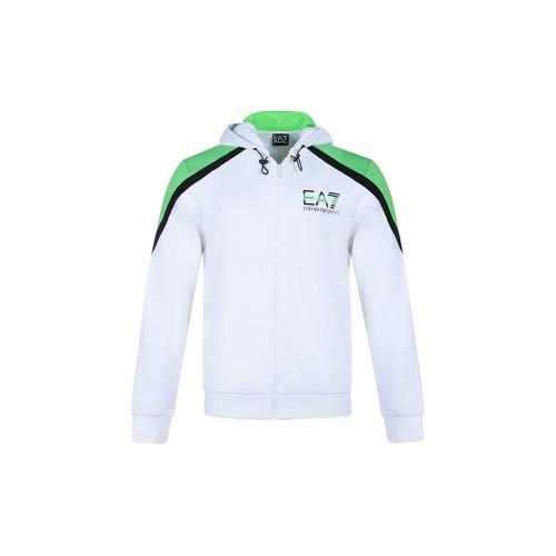 Felpa EA7 Emporio Armani 3KPME7 PJ3MZ Colore Bianco e Verde