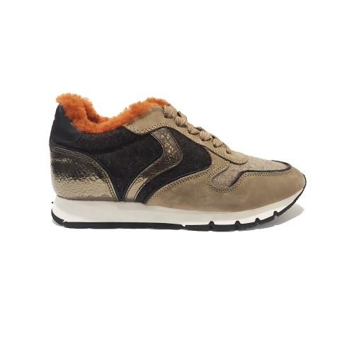 Sneakers Voile Blanche Julia Fur Colore Marrone e Beige