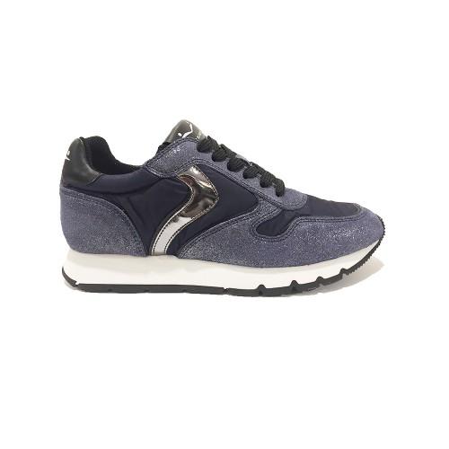 Sneakers Voile Blanche Julia Velour Glitter Colore Blu Navy