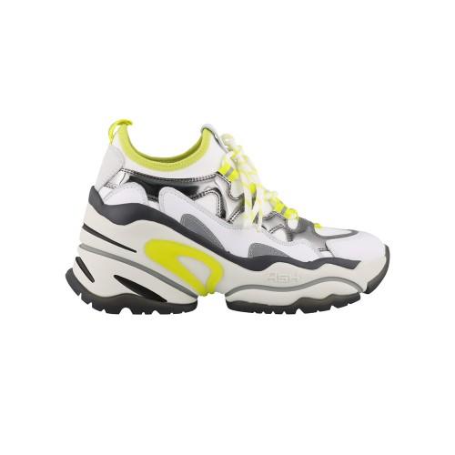 Sneakers in Pelle ASH Bird Colore Bianco e lime