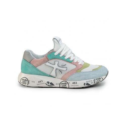 Sneakers Premiata ZACZACD 4591 Color Verde y Rosa