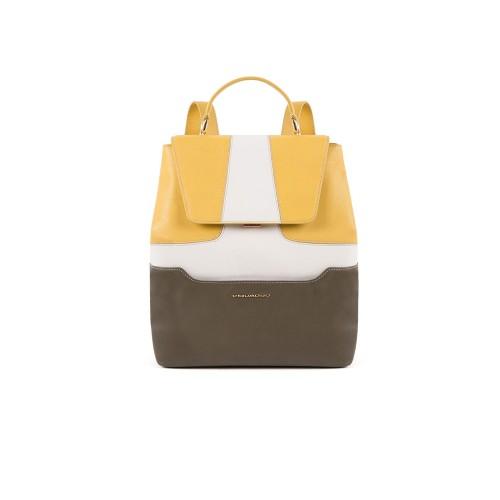 Mochila de Piel Piquadro CA4951S108/G Color kaki y Amarillo