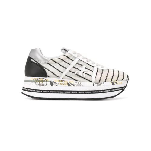 Sneakers Premiata Beth 4627 Color Blanco con Rayas Negra
