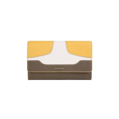 Pochette de Piel Piquadro AC4989S108 G Color Kaki y Amarillo