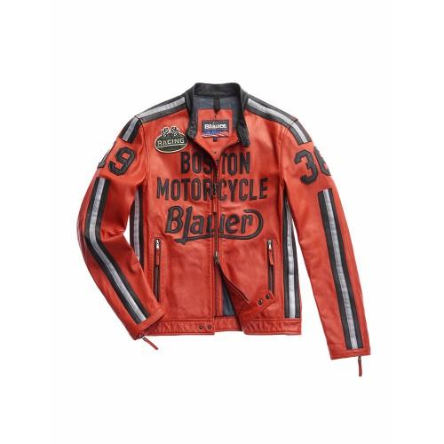 Giacca in pelle tipo Biker, Blauer, modello SBLUL02135,...