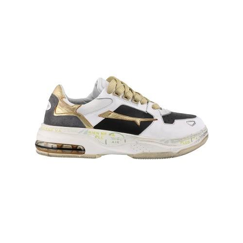 DRAKE 0018 Premium Leather Sneakers White / Gold