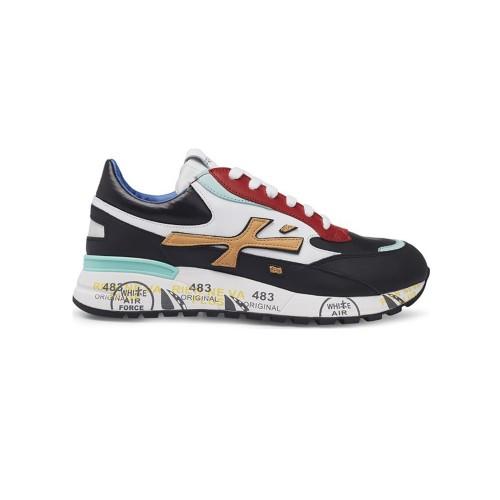 Sneakers de Piel Premiata DJANGO 4962 Color Negro y Rojo