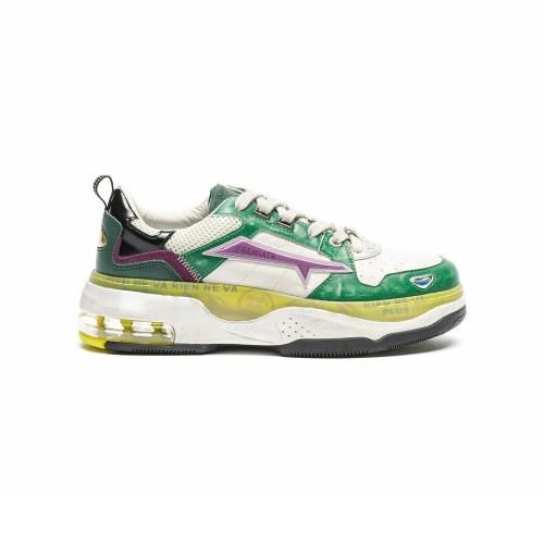 Sneakers de Piel Premiata DRAKED 054 Color Crudo y Verde
