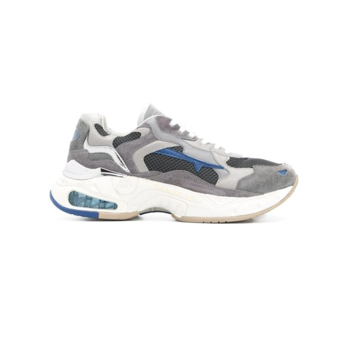 Sneakers de Piel Premiata SHARKY 0022 Color Gris y Azul