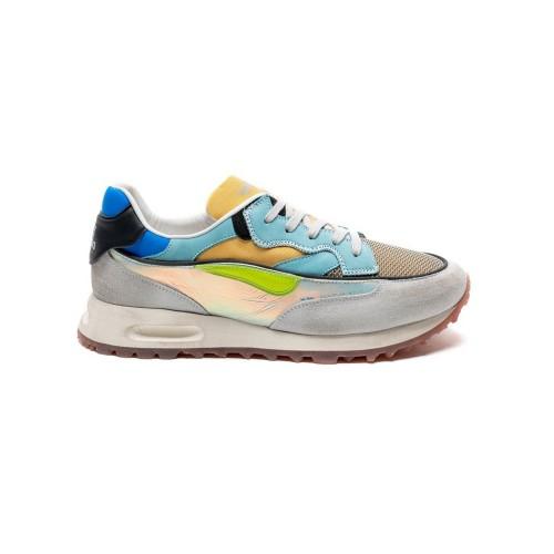 Sneakers de Piel Hidnander THREEDOME Color Gris y Celeste