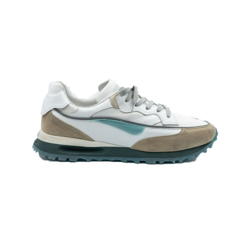 Sneakers de Piel Hidnander THREEDOME Color Blanco y Beige