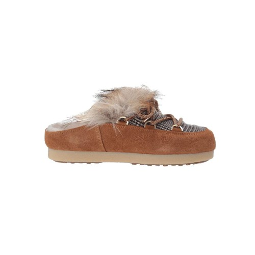 Sabot Moon Boot FAR SABOT FAUX FOR FUR Color CAMEL / WHISKY