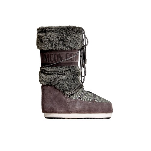 High Boots MOON BOOT CLASSIC FAUX FUR TARTAN Anthracite...