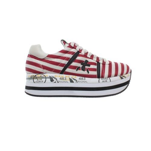Sneakers Premiata BETH 2987 Color Blanco y Rayas Rojas