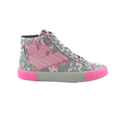 Sneakers Altas EA7 Emporio Armani X8Z013 Color Gris y Fucsia