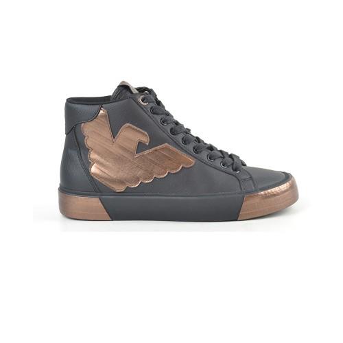 Sneakers Altas EA7 Emporio Armani X8Z013 Color Negro y Oro
